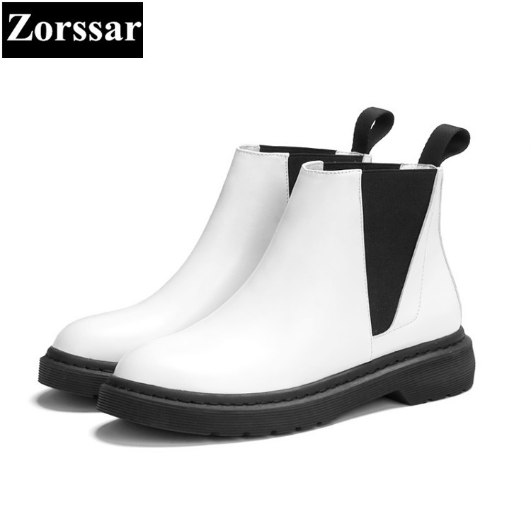 купить {Zorssar} 2018 Woman Fashion Genuine Leather Ankle Martin Boots Female slip on Flat Heel Casual short shoes Spring Autumn Shoes дешево