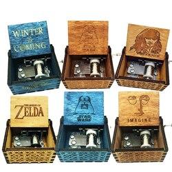 La légende De Zelda boîte à musique anonymat Antique sculpté en bois manivelle boîtes à musique cadeaux d'anniversaire De noël Caixa De Musica