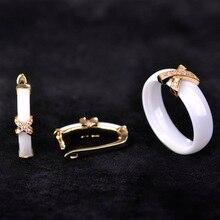 Wedding Ceramic Ring Earring Jewelry Sets For Women Chinese Chic CZ Rhinestone Copper Anillo Orecchino Classy Sergi Femme Bijoux