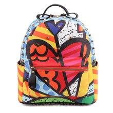 Romero britto 2016 ventas calientes nueva pintada de la historieta femenina remaches mujer moda mochilas de viaje mochila