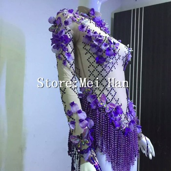 Purple Rhinestone Flower Long Sleeves Leotard Outfit Boysuit Female Singer Party Show Shining Wear Stage Costume Stones Clothes