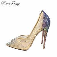 DorisFanny blingbling phụ nữ giày cao gót giày cao gót tím long lanh giày 12 cm/10 cm/8 cm sexy cao gót bơm kích thước 34 43 45