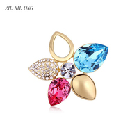 ZH KH ONG Exquisite Gold Color Female Shiny Crystal Five Leaves Brooch And Flowers Brooches For