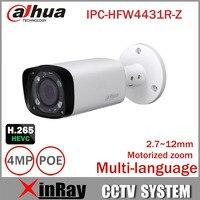 Dahua IPC-HFW4431R-Z 4mp Câmera Noite 80 m IR com 2.7 ~ 12mm lente VF Motorizada Zoom Auto Foco Bala Câmera IP