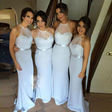2015 Cheap Long Bridesmaid Dresses Halter Sashes Pleat Satin Mermaid Floor-Length Robe Demoiselle D'honneur Bridesmaid Dress