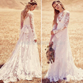 Vintage Boho Lace Wedding Dresses Long Sleeve Illusion Country Beach Wedding Dress Cheap Bridal Dresses Wedding Gowns PA37