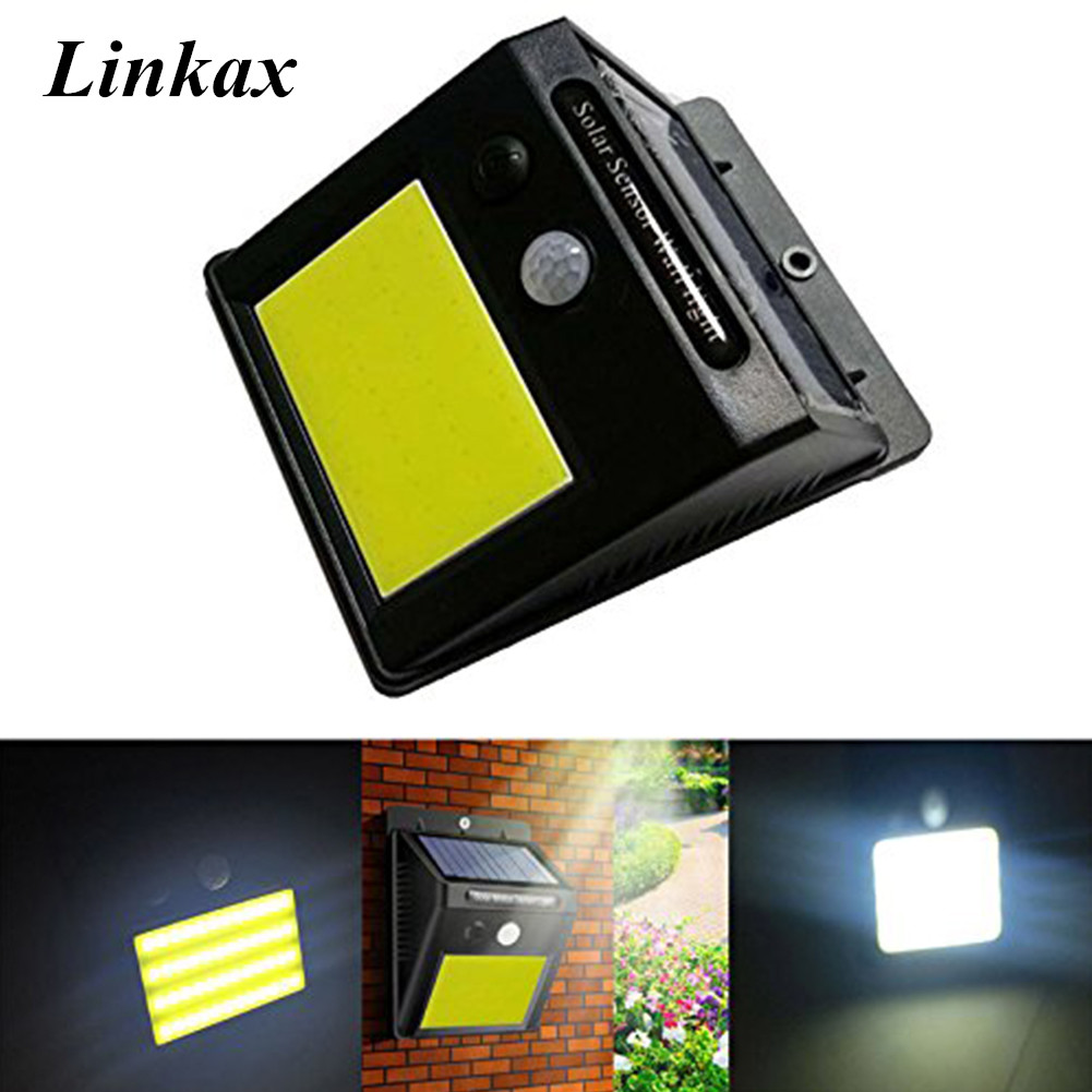 LED Infrared PIR Motion Sensor 48 COB LED Solar Power Wall Lamp Outdoor Security Night Light Waterproof IP65 Solar Lamp boruit 65led outdoor solar light 1500lm motion sensor solar spotlight remote ip65 waterproof wall lamp home security night light
