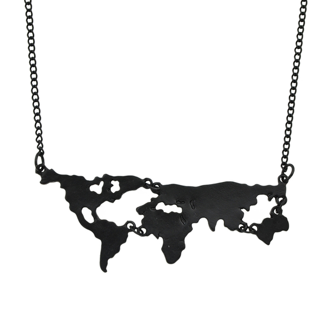 World Map Geometric Pendant Necklace