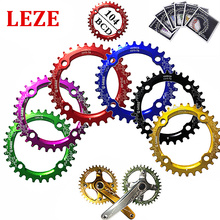 Marca LEZE 104BCD 32 T/34 T/36 T Ultraligero A7075 Aleación MTB Bicicleta Estrecho Ancho Plato Oval Redondo Ciclo conjunto de Platos Y Bielas