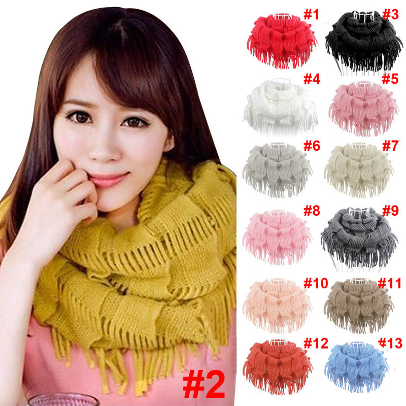 Newly New Fashion Womens Winter Warm Knitted Layered Fringe Tassel Neck Circle Shawl Snood Scarf Cowl DOD886