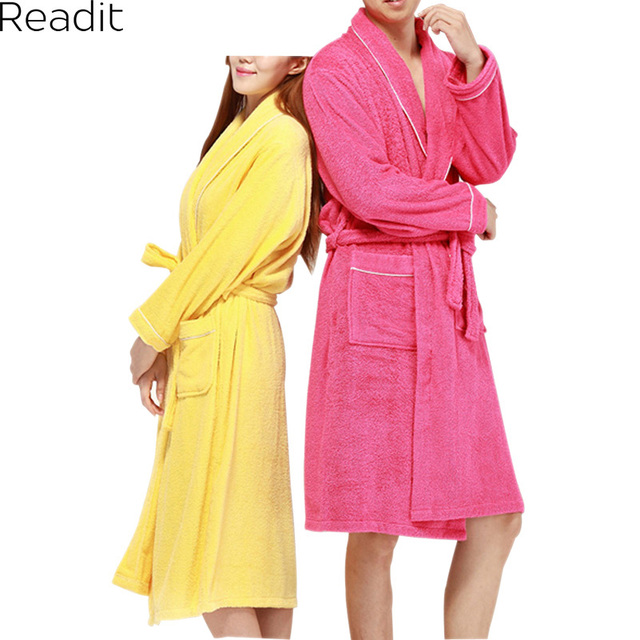 d52182a824 Men Women 100% Cotton Terry Bathrobe Lovers Solid Towel Sleepwear Long Bath  Robe Kimono Femme Dressing Gown PA1822P