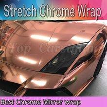 Flexível de alta Chrome Espelho Ouro Rosa Seet Envoltório do Vinil DIY rolo de Filme Decalque Etiqueta Do Carro estilo do carro 1.52×20 m/roll com Bolha livre
