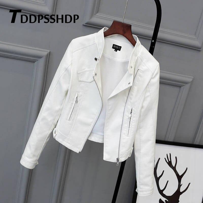 White Black Pink Color Women Pu Leather Jacket 2019 Spring Figure Flattering Female Hipster Slim Coat