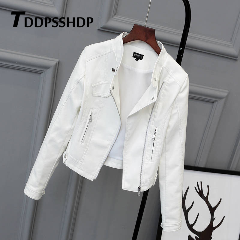 White Black Pink Color Women Pu   Leather   Jacket 2019 Spring Figure Flattering Female Hipster Slim Coat