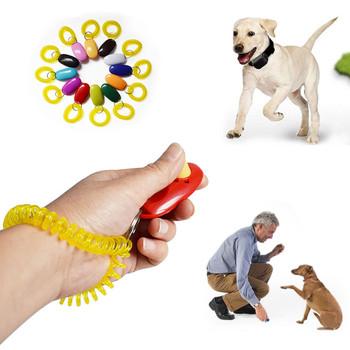 Uniwersalny zdalny przenośny przycisk psa Clicker Sound Trainer Pet przyrząd szkoleniowy kontrola nadgarstek opaska akcesoria New Arrival tanie i dobre opinie ISHOWTIENDA Szkolenia Clickers 41325 Z tworzywa sztucznego