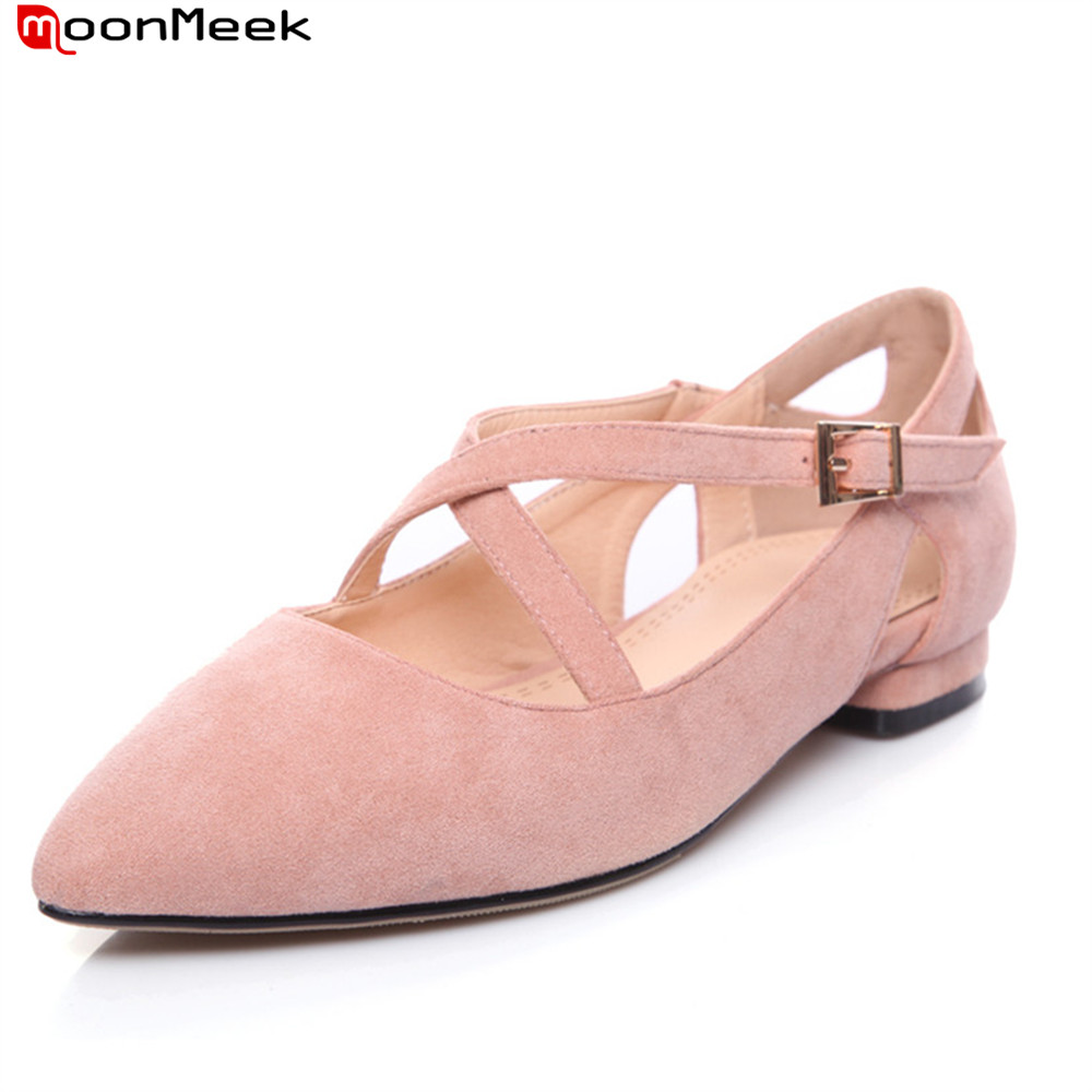 MoonMeek new prevail 2018 spring autumn sexy women shoes low heel pointed toe gentle wedding shoes with buckle ladies pumps durex ky lube sex supplies 50g