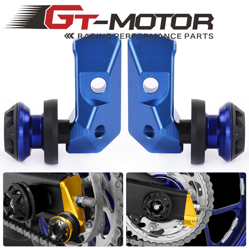 GT Motor - Motorcycle Alloy Rear Axle Spindle Chain Adjuster Blocks with Spool Sliders Kit For Yamaha YZF R3 MT-03 MT-25 15-16 ca r3 new arrival motorbike cnc rear axle spindle chain adjuster blocks protector for yamaha yzf r3 yzf r25 mt 03 mt 25