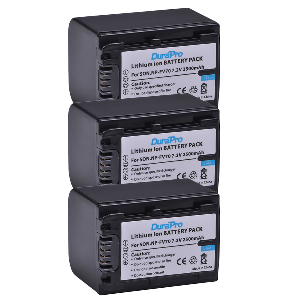 3pcs NP-FV70 NP FV70 NPFV Rechargeable Battery For <font><b>Sony</b></font> HDR-CX230 HDR-CX150E HDR-CX170 HDR-<font><b>CX110</b></font>, HDR-CX150, HDR-CX12E, HDR-CX6E image