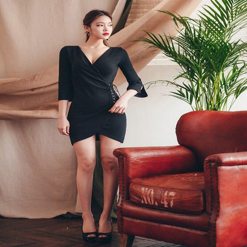 Vestido elegante y sexy para mujer, con cuello en V, ceñido a la cadera, vestido irregular de una pieza para mujer - 2