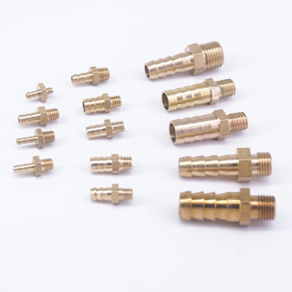 Hose Barb I/D 2.5mm 3mm 4mm 5mm 6mm 8mm 10mm X Metric M5 M6 M8 M10 M12 Male Brass Splicer Coupler Connectors Fittings Plumbing