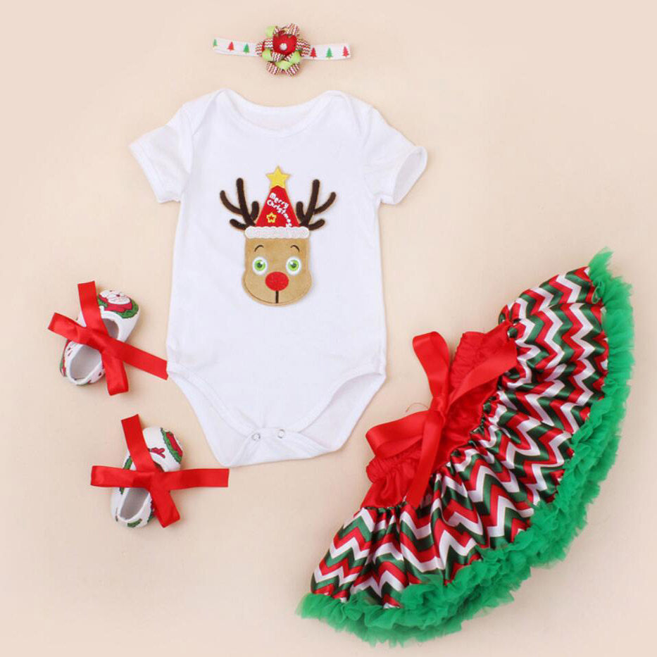 4PCs per Set Newborn Baby Girls First Second Deer Christmas Outfit Polka Dots Skirts Headband  Shoes for 0-24Months classic casual baby shoes toddler newborn polka dots baby girls autumn lace up first walkers sneakers shoes