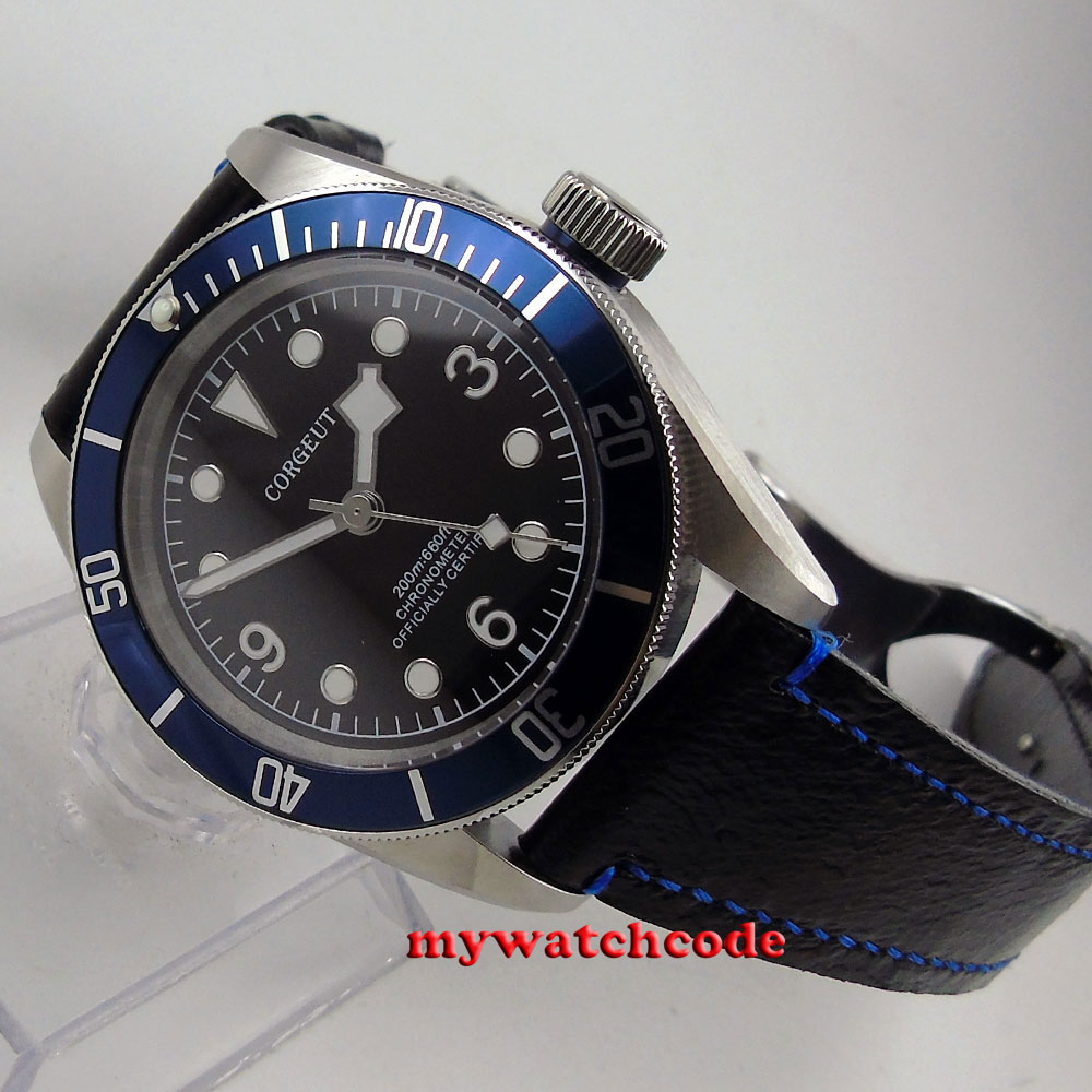 41mm corgeut black dial blue bezel Sapphire glass miyouta automatic mens Watch8041mm corgeut black dial blue bezel Sapphire glass miyouta automatic mens Watch80