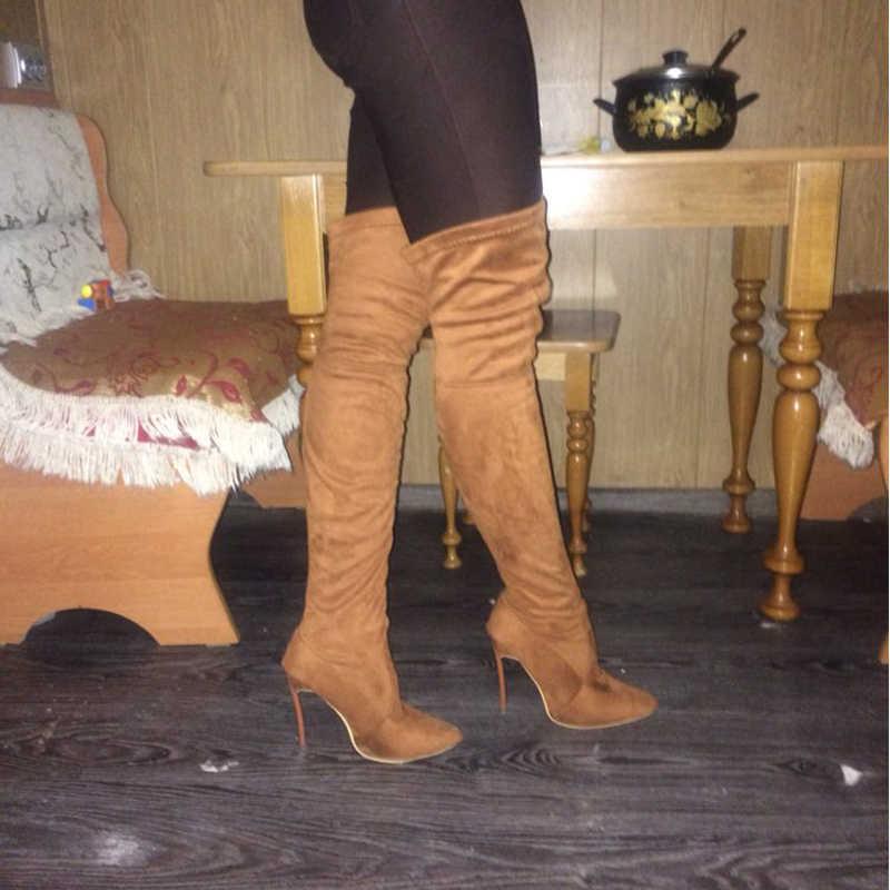 2019 ใหม่รองเท้าสไตล์สตรีรองเท้ารองเท้าบู๊ตเข่าต้นขาสูงฤดูหนาวสไตล์แฟชั่นชี้รองเท้ารองเท้าส้นสูง