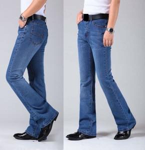 Image 1 - Mens התלקח רגל ג ינס מכנסיים גבוה מותן ארוך התלקחות ג ינס לגברים Bootcut כחול ג ינס Hommes פעמון תחתון ג ינס גברים