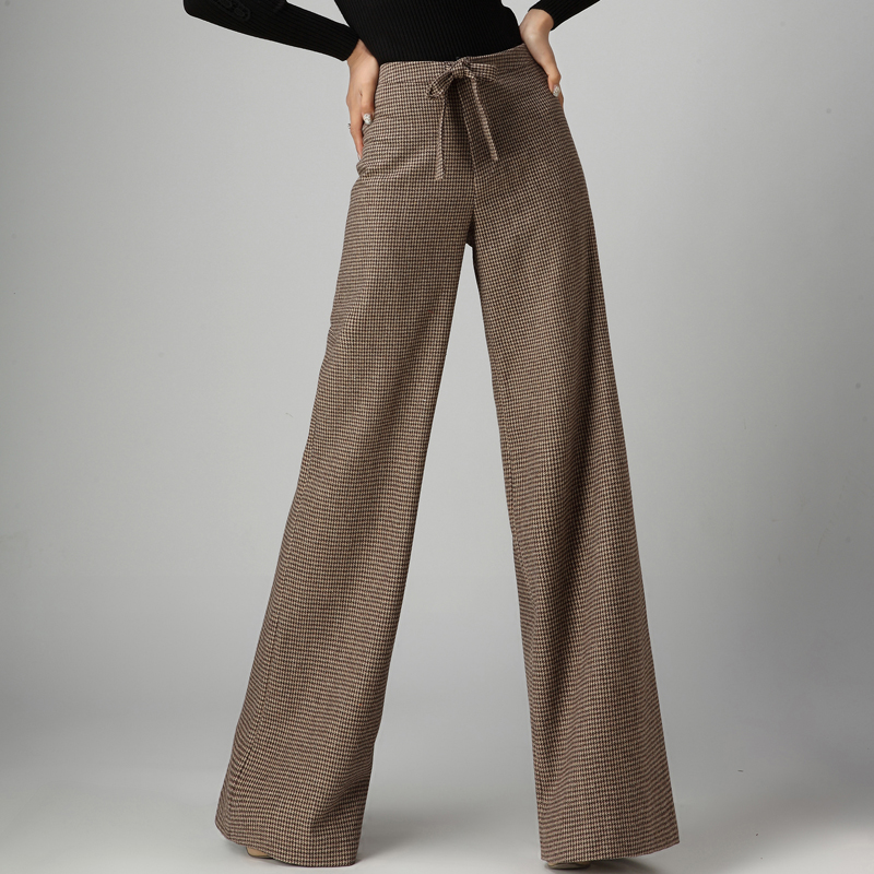 Unique Design Women 2018 Spring Autumn   Wide     Leg     Pants   Casual Woolen Trousers Houndstooth Straight Loose Long   Pants   High Waist OL