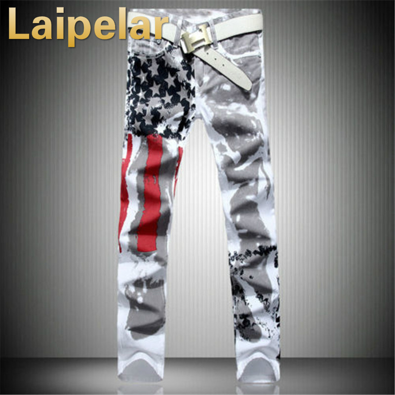 New Arrival Men Casual American USA Flag Printed Jeans Pants Mens Graffiti Print white hip hop fashion Jean Slim Fit Trousers in Jeans from Men 39 s Clothing