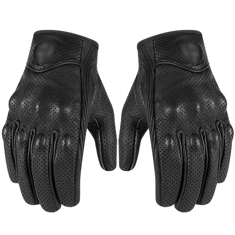 Motorcycle Gloves Retro Perforated Leather Moto Waterproof Gloves Motorcycle Protective Gears Motocross Gloves Gift Dropshipping