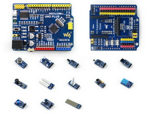 UNO PLUS Package A Improved UNO R3 with Onboard MCU ATMEGA328P-AU, Comes with Various Sensors Modules atmega328p mcu development board compatible with uno r3 io expansion shield sensors pack uno plus package a