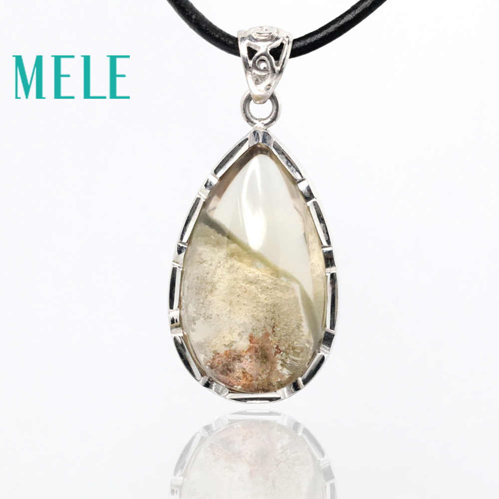 MELE natural green ghost phantom garden crystal pendants for women and man,27X16mm water drop shape with Crystal clearMELE natural green ghost phantom garden crystal pendants for women and man,27X16mm water drop shape with Crystal clear