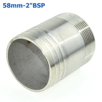 2PCS 58mm Hose Barb Tail To 2 Inch BSP Male Thread Connector Joint Pipe Fitting SS