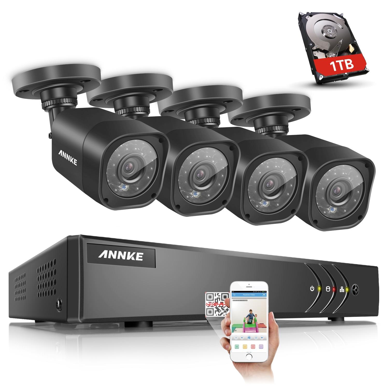 ANNKE 4CH 720P HDMI TVI DVR CCTV Security System 4PCS 1200 TVL 1.0 MP Outdoor Bullet White Camera Surveillance System Kits