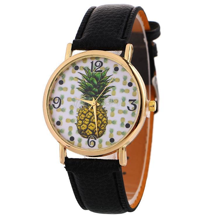 Ananas Pattern Women Watch Casual Quartz Leather Student Watch Men Hot Sale Analog Wristwatch Relogio Feminino