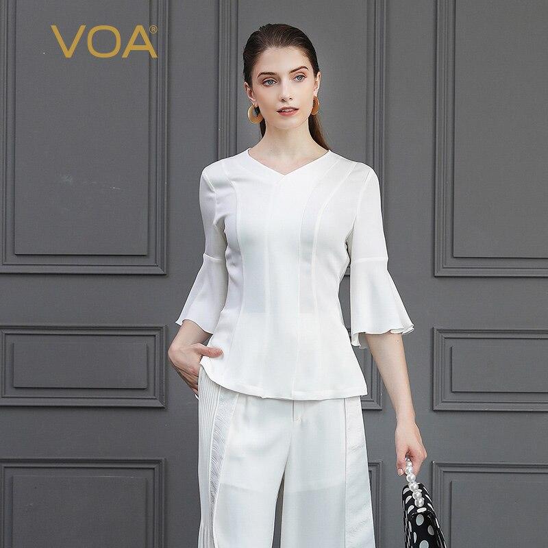 Blanc Manches Base Femmes Élégant De V Hauts T Dames Voa Soie Mince shirt Bureau Grande Blusas Solide Taille Cou B801 Automne Flare UVSzMpq