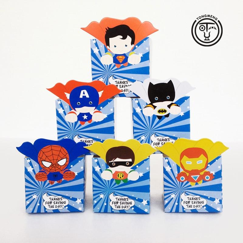 12 шт./лот Супергероя Мстители супермен бэтмен конфеты коробка попкорна коробки Благосклонности Коробки День Рождения Декорации для Вечеринок дети праздничные атрибуты