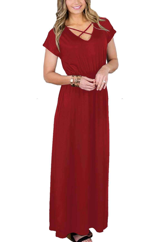 Short sleeve bodycon maxi dress for summer