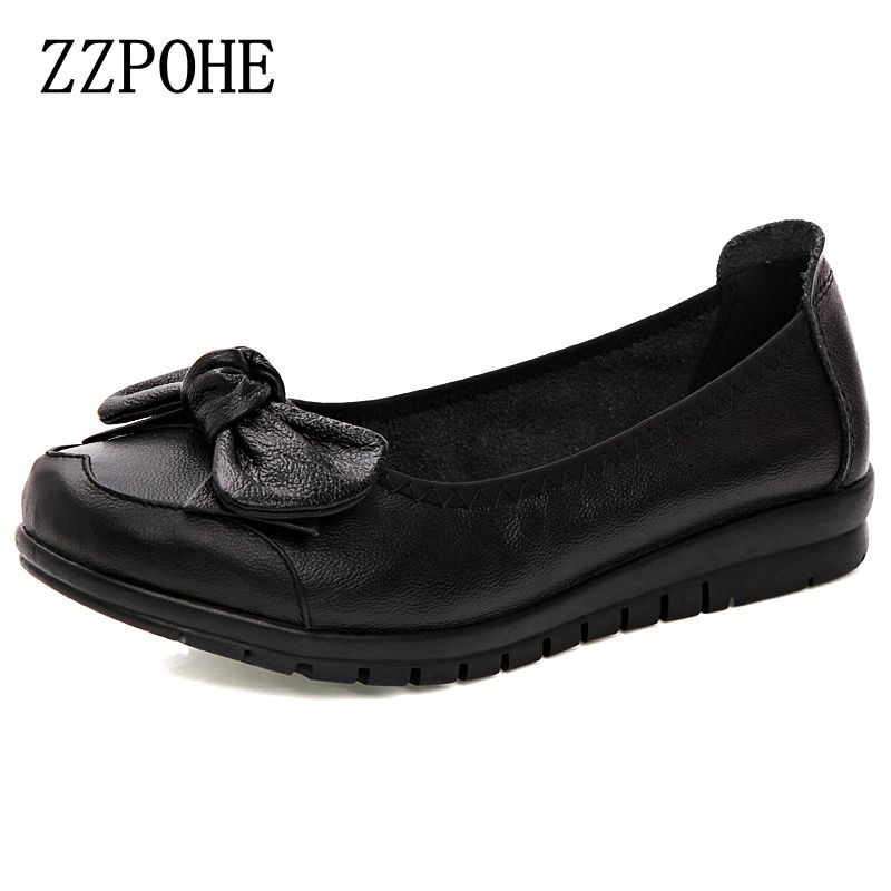ZZPOHE Ladies Leather shoes fashion casual comfortable large size women's singles shoes soft bottom middle-aged work shoes 40 phil collins singles 4 lp