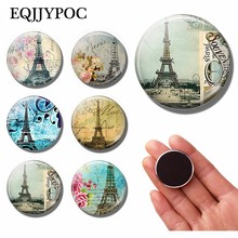 1pc Souvenir De Paris 30MM Fridge Magnet Paris Eiffel Tower Glass Cabochon Magnetic Refrigerator Stickers Note Holder Home Decor(China)