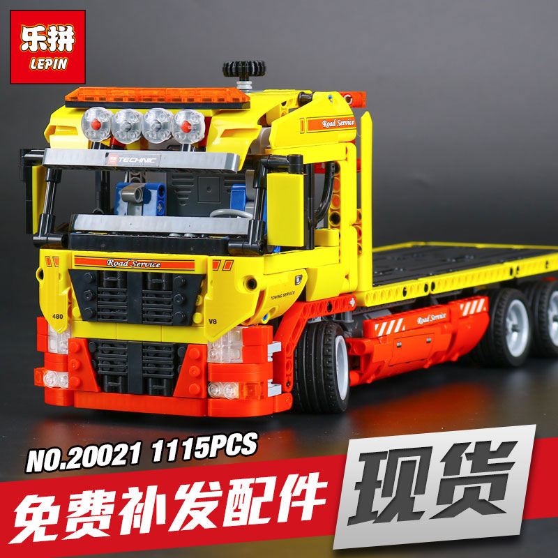 LEPIN 20021 New Technic series 1143pcs Flatbed trailer Model  Educational Building blocks Bricks Compatible Toys Gift 8190