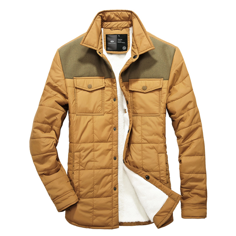 Men s Wear Cotton Padded Clothes European And American Wind Matching Velvet Collar Men s Army