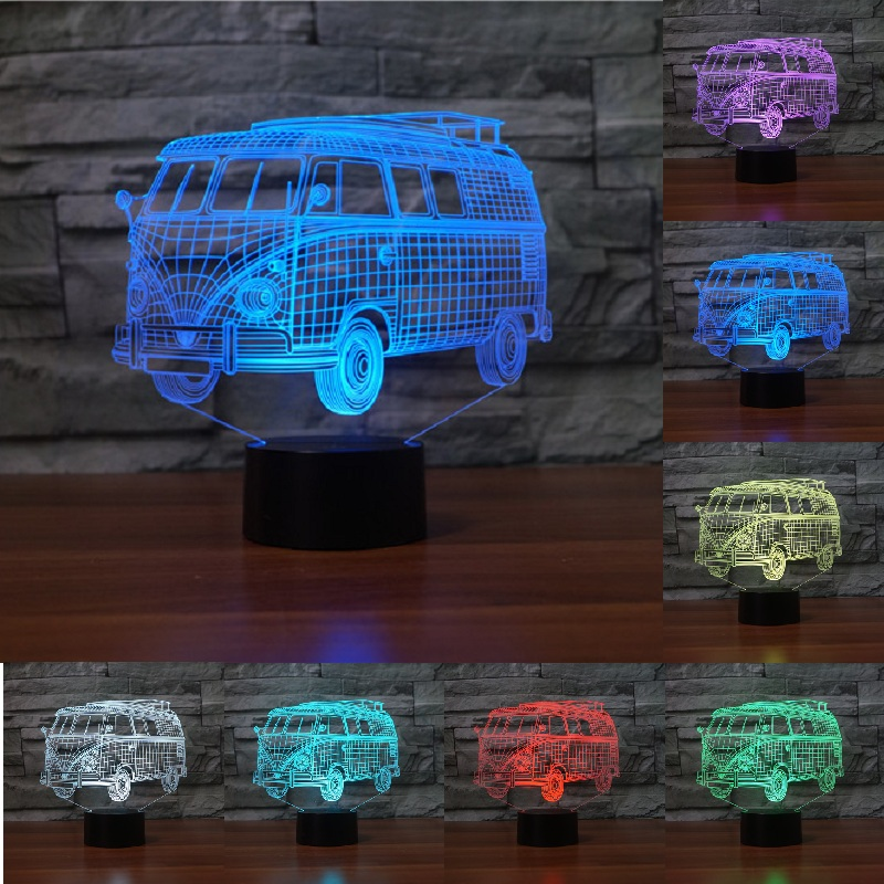 Public bus lamp 3D light Bus Night Light 7 Color Change Acrylic light LED Table lamp USB light Bedroom for Decoration IY803807