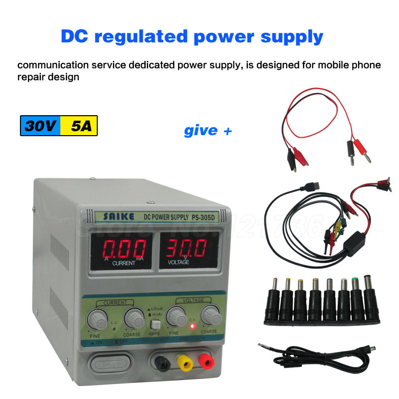 SAIKE 305D 30V 5A 220V DC regulated power supply Adjustable Voltage regulator Regulated power supply 30v 5a dc regulated power high precision adjustable supply switch power supply maintenance protection function kps305df