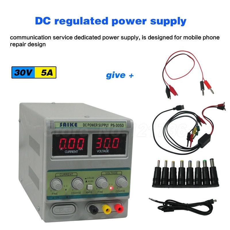 SAIKE 305D 30V 5A 220V DC regulated power supply Adjustable Voltage regulator Regulated power supply adjustable power supply ka3005d precision adjustable 30v 5a dc linear digital voltage regulator power supply free shipping