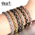 Beier Stainless Steel Bracelet Men Punk Rock Jewelry high quality Pulseira Masculina Byzantine Chain Link Bracelets for Women