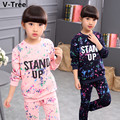 2017 Spring Girls Two Pieces Sport Sets Teenagers Children Long Sleeve Hoodies Pants Girls Kids Cotton Print TShirts Trousers