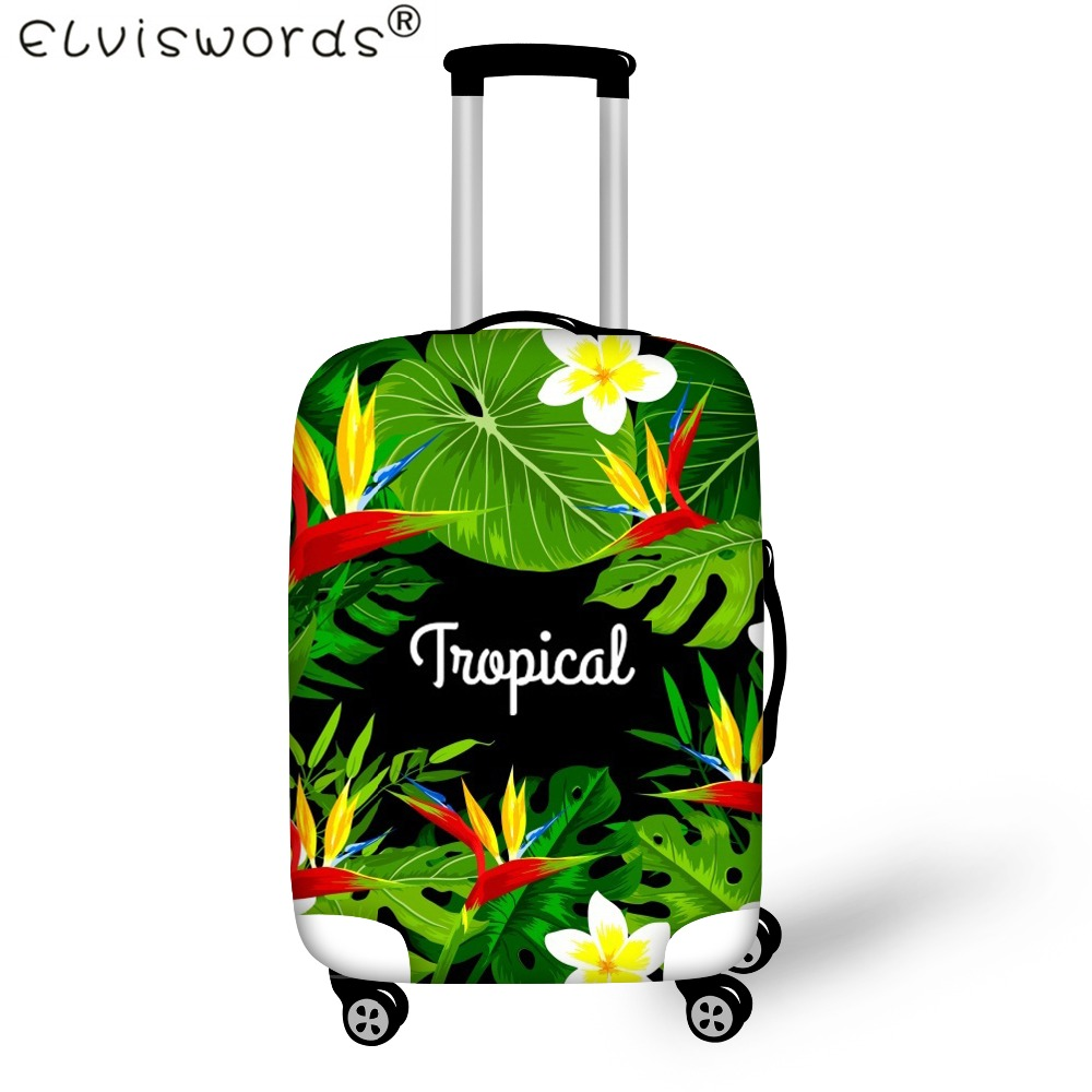 ELVISWORDS Tropical Printing Suitcase Protective Covers Travel Accessories Trolley Elastic Luggage Case Cover,Dust Covers