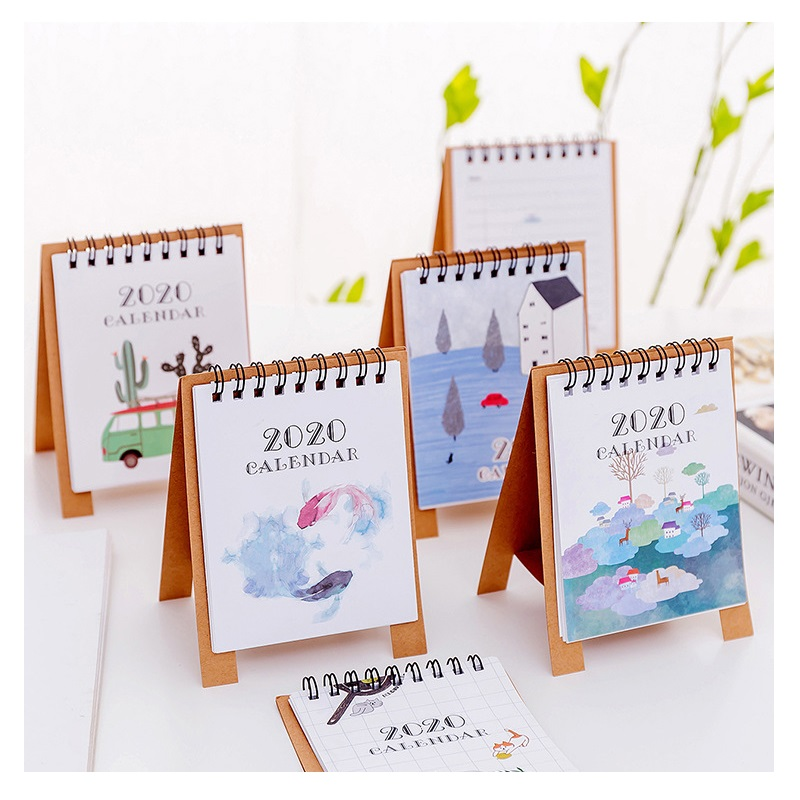 2020 Simple Mini Table Calendars Cat Flamingo Cartoon Animals Desk Calendar Office Supplies 2020.01~2020.12